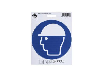 Pictogramme autocollant protection obligatoire de la tête 15cm