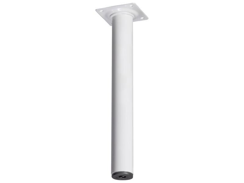 Pied de meuble rond 30mm 25cm métal blanc