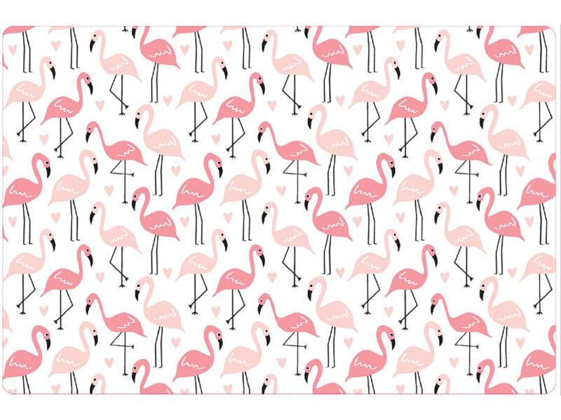 Placemat antislip 45x30 cm pink flamingos