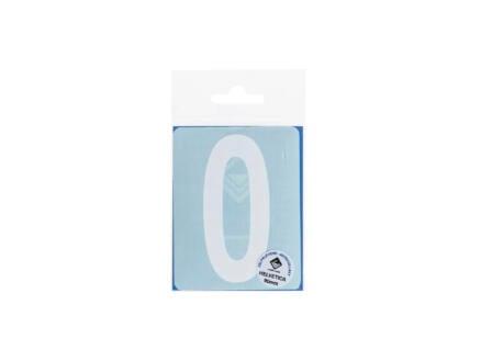 Plakcijfer 0 90mm wit mat