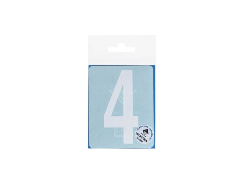 Plakcijfer 4 90mm wit mat