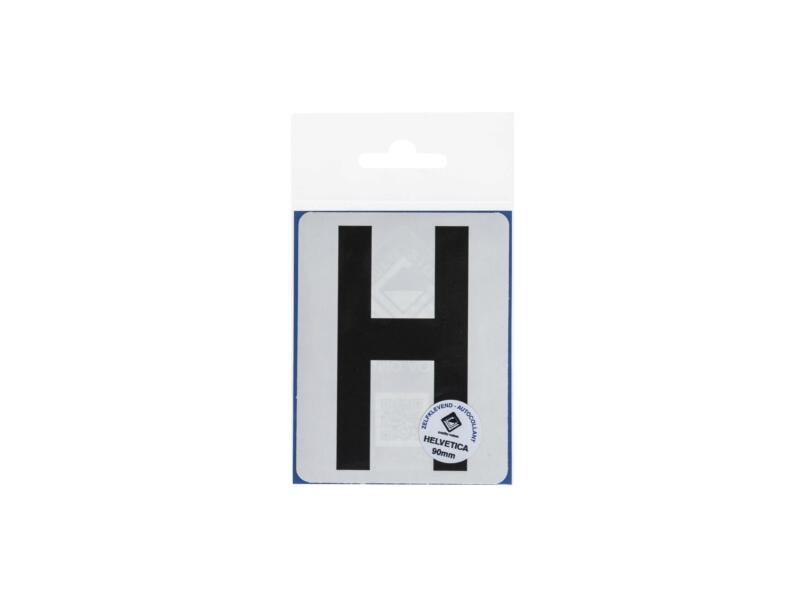 Plakletter H 90mm zwart mat