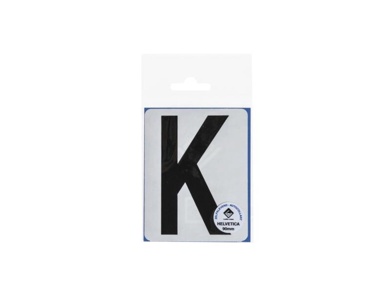 Plakletter K 90mm zwart mat
