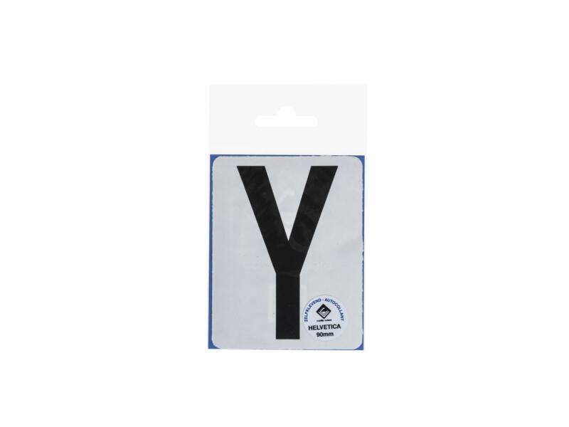 Plakletter Y 90mm zwart mat