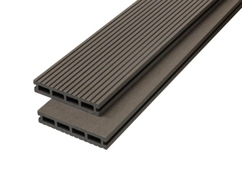 Planche de terrasse 290x14,6x2,2 cm composite anthracite 3 pièces