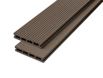 Planche de terrasse 290x14,6x2,2 cm composite brun 3 pièces