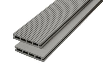 Planche de terrasse 290x14,6x2,2 cm composite gris 3 pièces