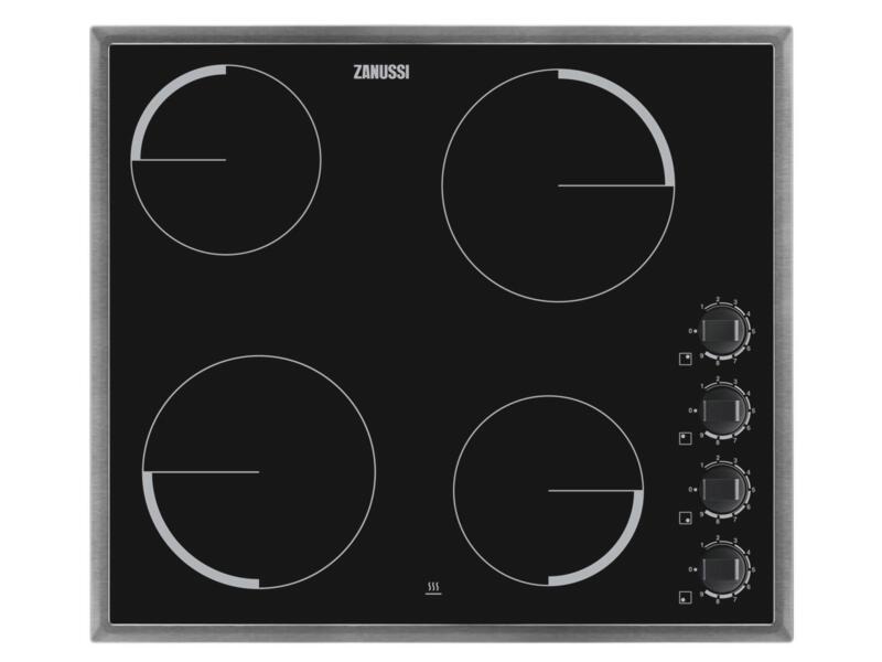 Zanussi Plaque de cuisson vitrocéramique 57cm 4 foyers inox