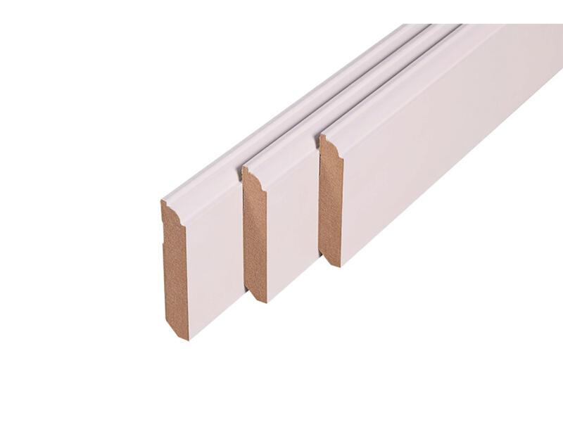 Plint 75x14 mm 240cm 1/4 rond wit