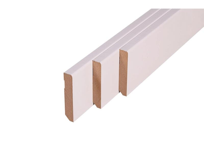 Plint 75x14 mm 240cm recht wit