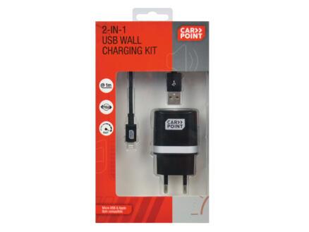 Carpoint Plus adaptateur secteur USB + câble 2-en-1