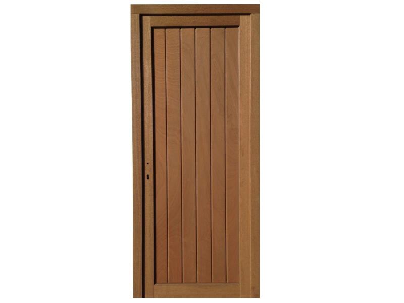 Porte extérieure panneau plein poussant droit 217x94 cm bois