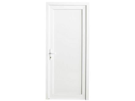 Porte extérieure panneau plein poussant droit 218x96 cm PVC blanc