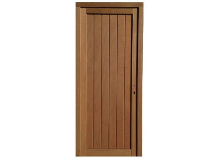 Porte extérieure panneau plein poussant gauche 217x94 cm hout