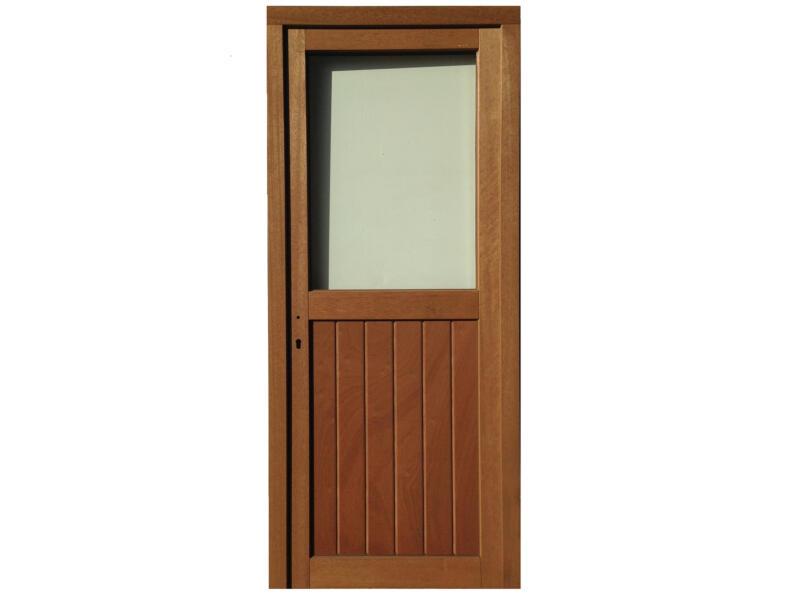 Porte extérieure poussant droit bois et verre 217x94 cm