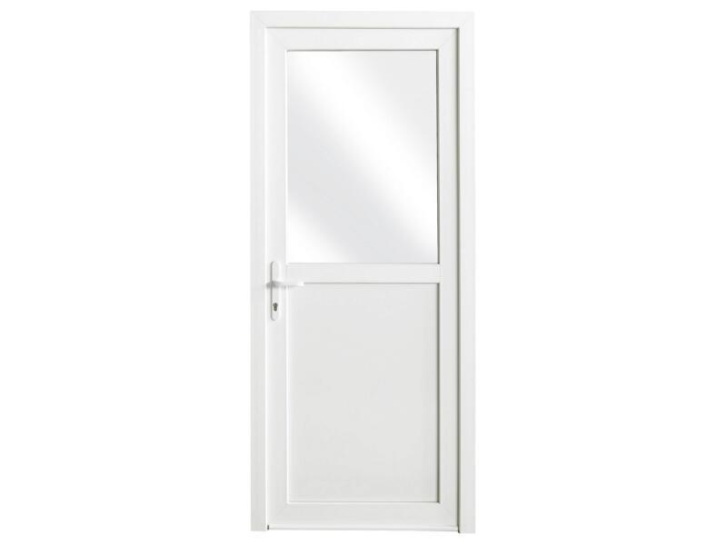 Porte extérieure semi-vitrée poussant droit 218x96 cm PVC blanc
