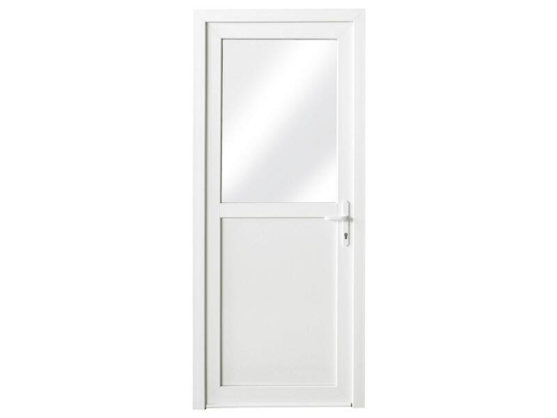 Porte extérieure semi-vitrée poussant gauche 218x96 cm PVC blanc