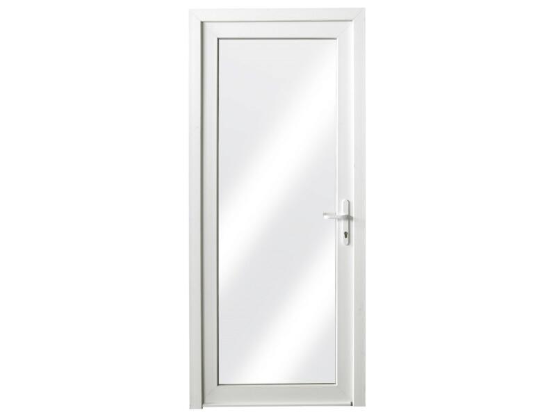 Porte extérieure vitrée poussant gauche 218x96 cm PVC blanc
