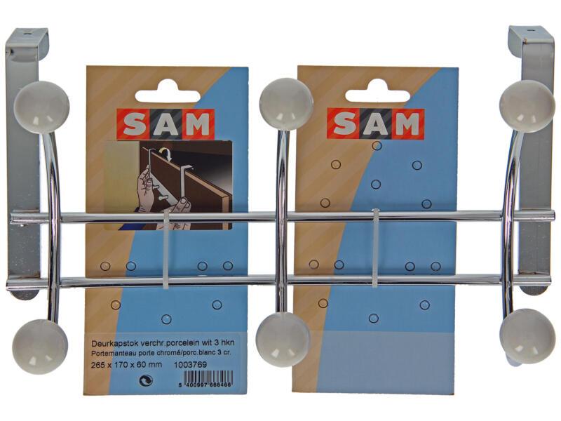 Sam Portemanteau de porte 3 crochets doubles métal