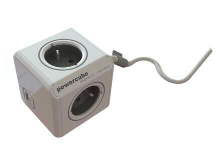 Chacon Powercube bloc multiprise 3x + 2x USB et câble 1,5m blanc