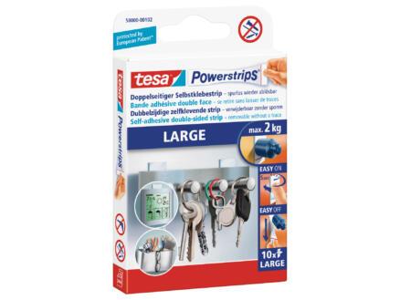 Tesa Powerstrip Large languette adhésive 7cm 2kg blanc 10 pièces
