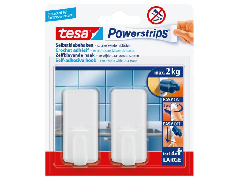 Tesa Powerstrips Classic haak 6,8cm 2kg wit 2 stuks