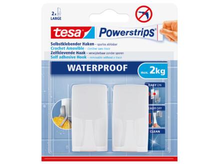 Tesa Powerstrips crochet blanc 14cm 2kg 2 pièces
