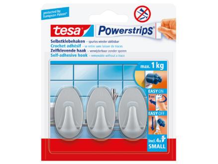 Tesa Powerstrips crochet ovale 4,5cm 1kg chromé 3 pièces
