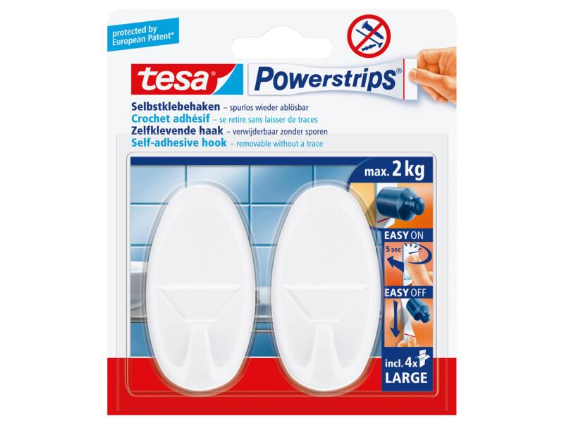 Tesa Powerstrips crochet ovale 6,8cm 2kg blanc 2 pièces