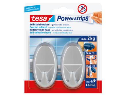 Tesa Powerstrips crochet ovale 6,8cm 2kg chromé2 pièces