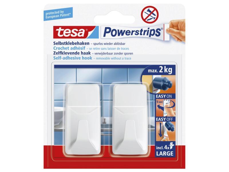 Tesa Powerstrips crochet porte-serviette adhésif 7cm 2kg blanc 2 pièces