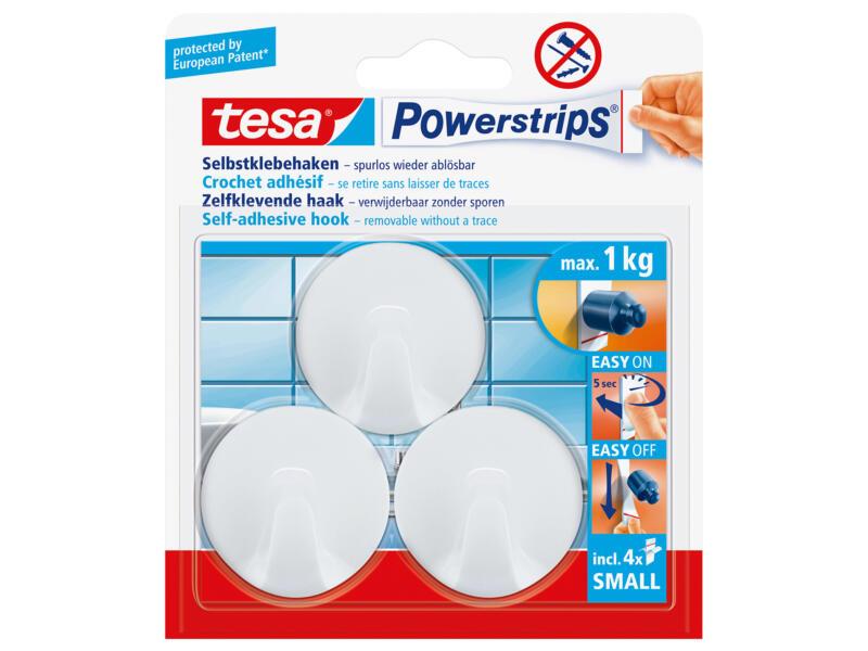 Tesa Powerstrips crochet rond 4,5cm 1kg blanc 3 pièces