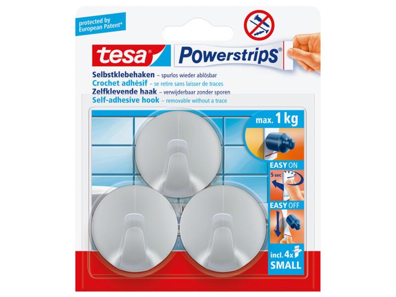 Tesa Powerstrips crochet rond 4cm 1kg chrome 3 pièces