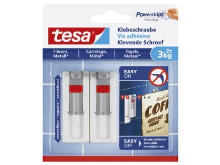 Tesa Powerstrips klevende schroef tegels en metaal verstelbaar 7cm 3kg wit 2 stuks