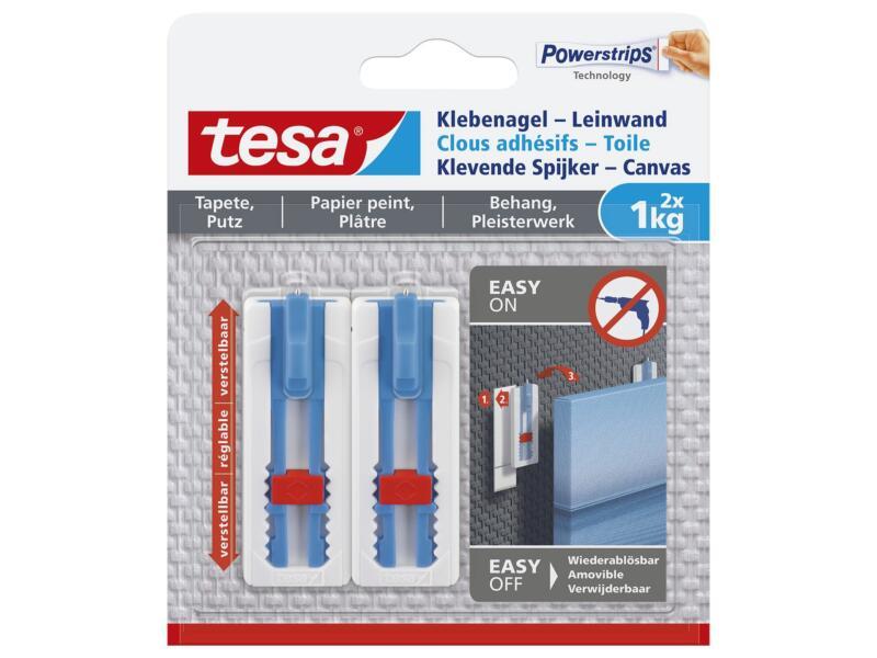Tesa Powerstrips klevende spijker - canvas voor behang en pleisterwerk 6cm 1kg wit/blauw 2 stuks