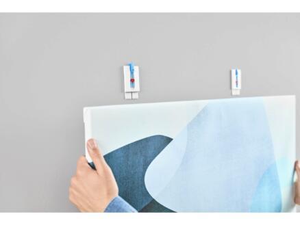 Tesa Powerstrips klevende spijker - canvas voor behang en pleisterwerk 7cm 2kg wit/blauw 2 stuks