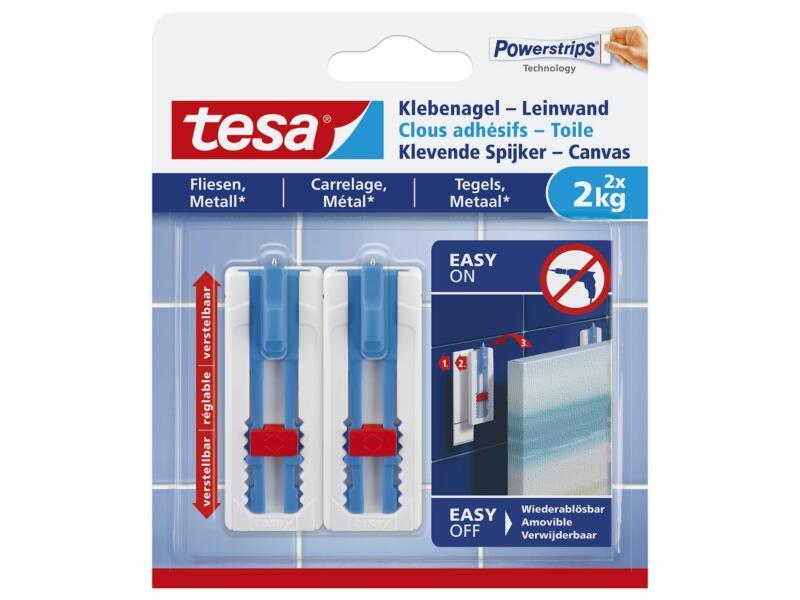 Tesa Powerstrips klevende spijker - canvas voor tegels en metaal 6cm 2kg wit/blauw 2 stuks