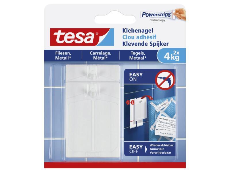 Tesa Powerstrips klevende spijker tegels en metaal 7,5cm 4kg wit 2 stuks