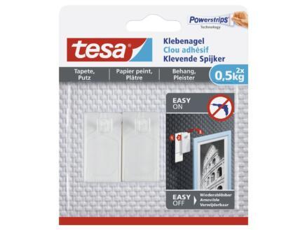 Tesa Powerstrips klevende spijker voor behang en pleister 4,5cm 0,5kg wit 2 stuks
