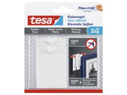 Tesa Powerstrips klevende spijker voor behang en pleister 6,3cm 2kg wit 2 stuks