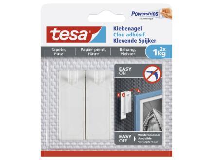Tesa Powerstrips klevende spijker voor behang en pleister 6cm 1kg wit 2 stuks