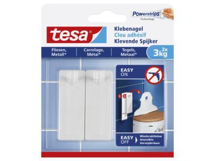 Tesa Powerstrips klevende spijker voor tegels en metaal 7,2cm 3kg wit 2 stuks