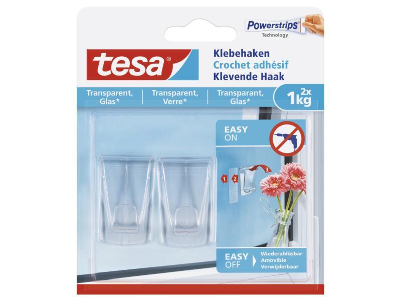 Tesa Powerstrips zelfklevende haak voor transparante materialen en glas 4,5cm 1kg transparant 2 stuks