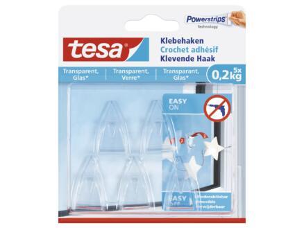 Tesa Powerstrips zelfklevende haak voor transparante materialen en glas 4cm 0,2kg transparant 5 stuks