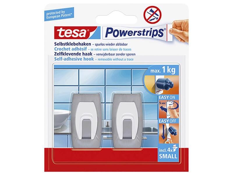 Tesa Powerstrips zelfklevende haken S inox 2 stuks