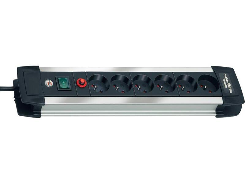 Brennenstuhl Premium-Alu-Line bloc multiprise 6x avec interrupteur et câble 3m noir