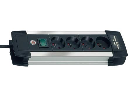 Brennenstuhl Premium-Alu-Line stekkerdoos 4x met schakelaar en kabel 1,8m zwart