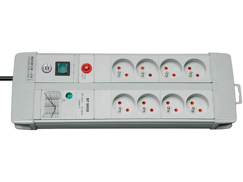 Brennenstuhl Premium-Line Technik bloc multiprise avec parasurtenseur 8x avec interrupteur et câble 3m gris clair