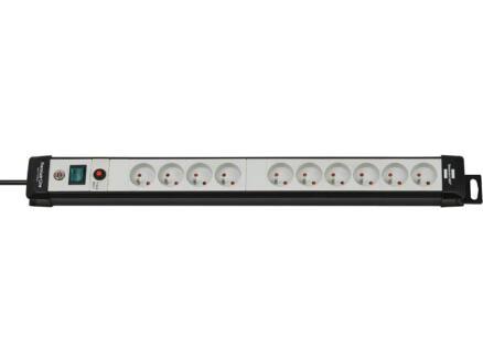 Brennenstuhl Premium-Line stekkerdoos 10x met schakelaar en kabel 3m lichtgrijs
