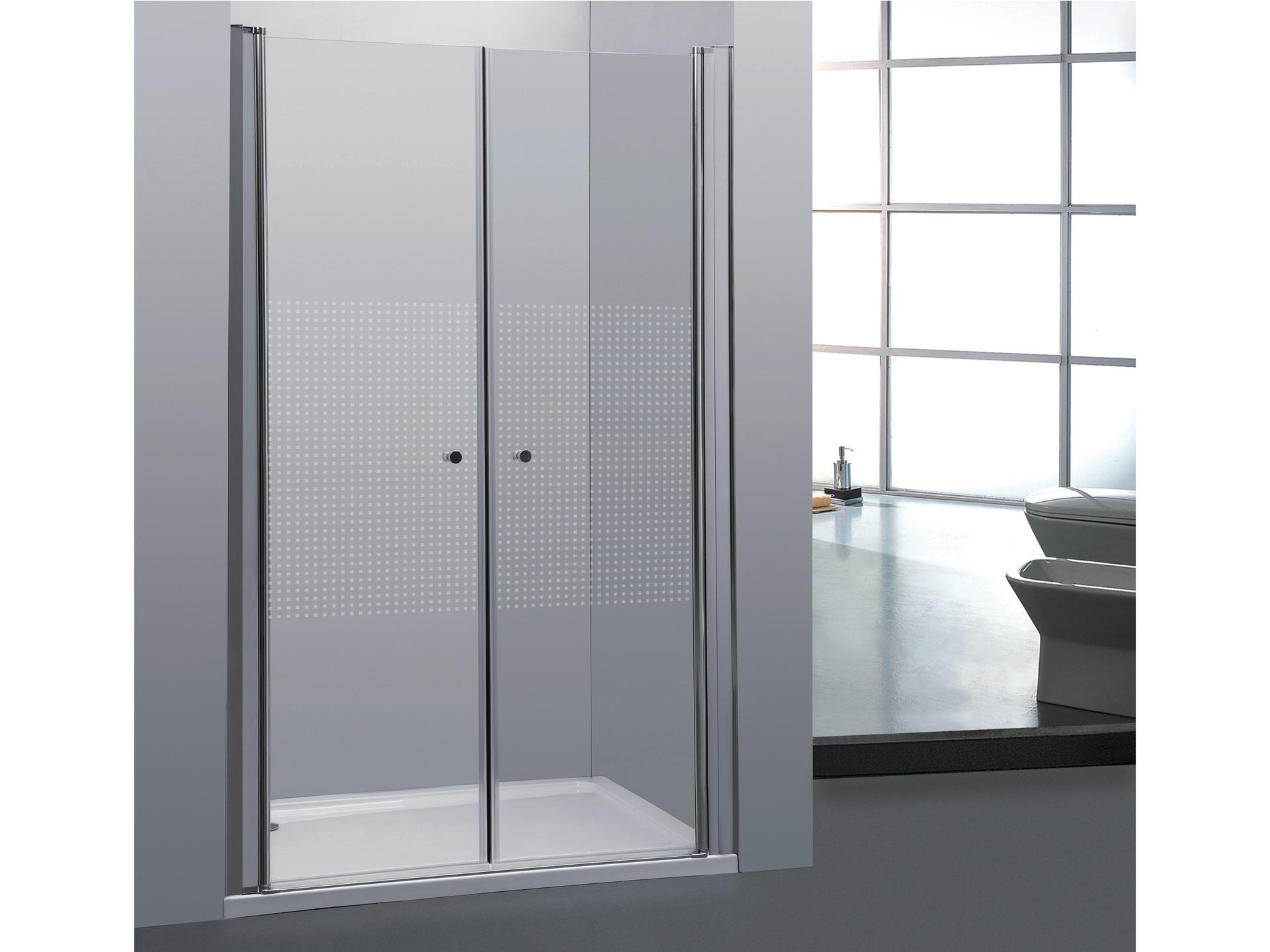Allibert Priva porte de douche pivotante 90x190 cm 2 portes sérigraphie  horizontale   Hubo 99a05ff9e48